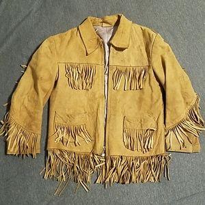 Vintage Kids Leather Fringed Jacket